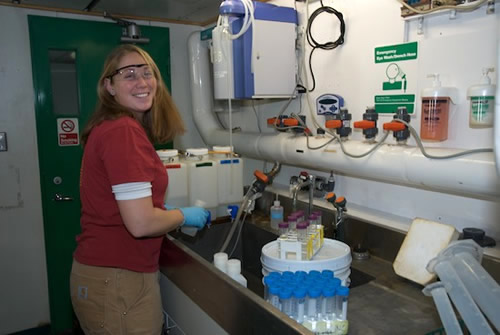 Marine science technician Lindsey Ekern prepares nutrient samples in the hydro lab on the Palmer. Photo by Debbie Nail Meyer.