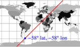 Map showing line of positions of equal latitude and longitude across the globe. Photo by Paul McGill.