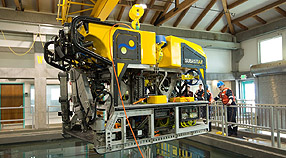 Engineers from the Schmidt Ocean Institute testing the ROV SuBastian in MBARI's test tank. Photo: SOI / Yuko Inatsuki