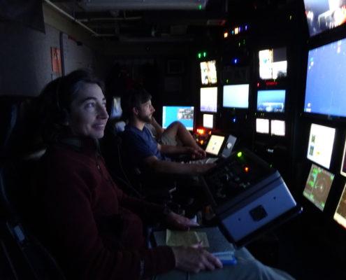 Alex Worden in the ROV control room