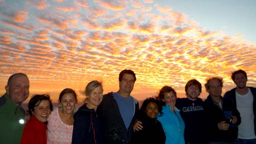 The science team and their guests from National Geographic enjoy the gorgeous sunset on Monday night from the back deck of the Western Flyer. Left to right: Stefan Seibert, Freya Goetz, Meghan Powers, Lynne Christianson, Steve Haddock, Danielle Haddock, Olivia Judson, Zach Kobrinsky, David Liittschwager, and Warren Francis.