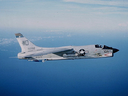 F-8 Crusader jet in flight. Image: US Navy/Wikipedia