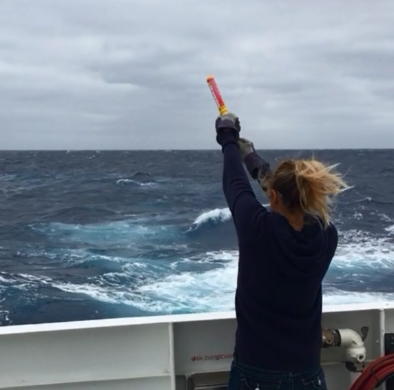 Click to watch video. While we were waiting for the seas to calm down enough to deploy the ROV, the crew did a training exercise to practice launching flares. Shannon Johnson tried her hand at a flare launch, just in case. Video by Robbie Young.