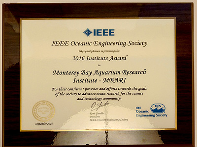 MBARI's award from the IEEE.