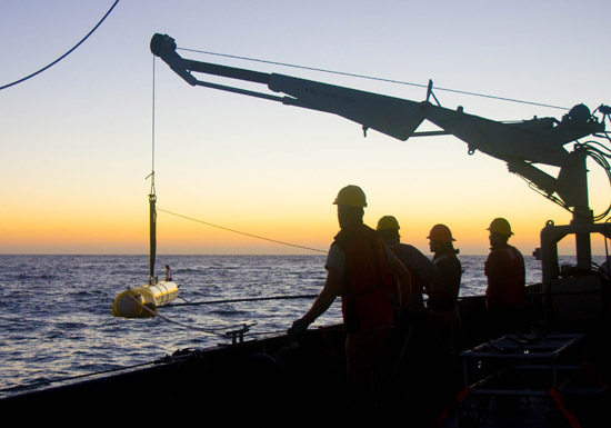 Researchers launch a Remus AUV with a custom sonar system to track beaked whales.