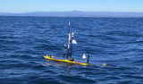 One of MBARI's wavegliders conducting a mission in Monterey Bay.