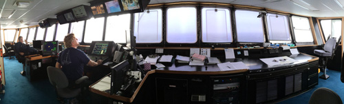 Panorama of the ship's bridge, where the captain drives the ship. From far left, Relief Chief Engineer Lance Wardle and Captain Aaron Gregg, who normally sails as captain on our other ship, the Rachel Carson, but sailed as relief on this trip. Thanks, Aaron!