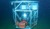 """During the test deployment, the deep ESP was allowed to sink about 640 meters (2,100 feet) down to the seafloor. Then the researchers used the remotely operated vehicle Ventana to dive down and inspect the instrument. They were happy to discover that it had landed """"right-side up."""" Image: © 2009 MBARI"""