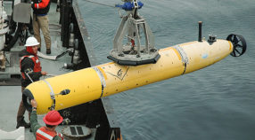 The crew of research vessel Rachel Carson launch a new autonomous underwater vehicle that can collect video of deep-sea animals.