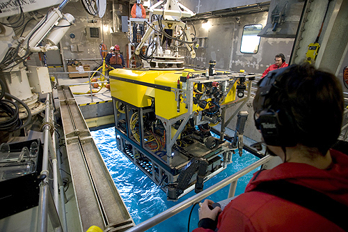 The remotely operated vehicle Doc Ricketts makes one of its first test dives in Monterey Bay. Like its predecessor, ROV Tiburon, this ROV is launched and recovered through a