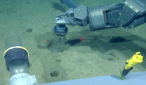 This photo shows the manipulator arm on the ROV Doc Ricketts inserting a