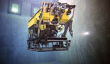 MBARI ROV pilots and engineers put the Doc Ricketts through its paces in the MBARI test tank before taking it out to sea for its first ocean dive. Image: Todd Walsh (c) 2008 MBARI