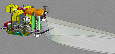 This computer drawing shows some of the key components of the Benthic Rover. Image credit: (c) 2006 MBARI