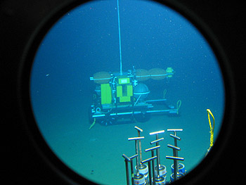This image of the Benthic Rover on the seafloor off Central California was taken through a view port on the research submarine Alvin. Image credit: Ken Smith (c) 2006 MBARI