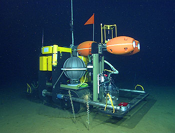 The Benthic Rover makes its way across the deep seafloor during a trial run in 2007. The