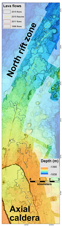 Part of the new map of Axial Seamount produced by MBARI researchers. Black outlines show lava flows from 2015 eruption. Image (c) 2016 MBARI