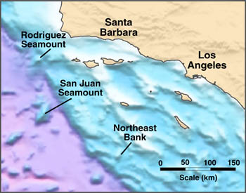 Area map showing the locations of the three seamounts that appear to have been volcanic islands between 10 and 14 million years ago. Image credit: (c) 2004 MBARI