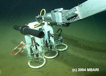 This benthic respirometer is one of several new oceanographic tools being described at the 2005 ASLO meeting. This instrument measures the oxygen consumption of organisms (mostly microbes) within the ocean sediment. This information helps scientists understand how such organisms can survive on the sparse food supplies available in the deep sea. Photo (c) 2004 MBARI
