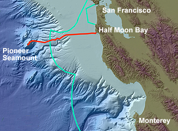 This shaded bathymetric image of the Central California coast shows the route of the Pioneer Seamount cable in red and the boundary of the Monterey Bay National Marine Sanctuary in turquoise. Image courtesy of the Monterey Bay National Marine Sanctuary.