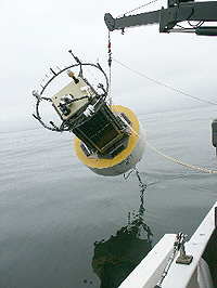 The new CIMT mooring being lowered into the calm early morning sea. Photo Kent Headley (c) 2004 MBARI