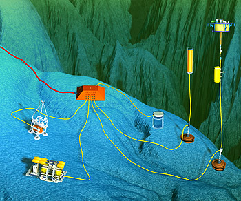 This illustration shows some of the oceanographic instruments that might be hooked up to the MARS ocean observatory, which is presently under construction in Monterey Bay. As more and more instruments are hooked up to ocean observatories, ocean engineers must find new ways to get these instruments to work together. Image: David Fierstein (c) 2005 MBARI