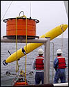 Launching the mapping AUV from MBARI's research vessel Western Flyer off the coast of Oregon.
