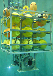 Before deploying the hyperbaric fish trap in the ocean, Drazen tested it in the MBARI test tank, as shown in this photo. The stainless steel cylinder at the bottom of the photo is the trap itself. Above it is an aluminum frame containing 27 yellow floats, which make the entire assembly positively buoyant. Photo: Kim Fulton-Bennett (c) 2004 MBARI