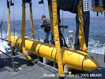 Senior Research Specialist David Caress at sea with the mapping AUV on board R/V Zephyr. Image: Duane Thompson (c) 2005 MBARI