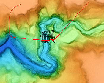 """This map shows the location of the mapping AUV missions. The red line shows the track of the first autonomous survey. The black lines show the """"lawnmower"""" tracks followed by an earlier, ROV-mounted survey. Image: David Caress (c) 2005 MBARI"""