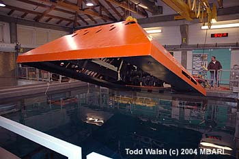 In June 2005, the trawl-resistent frame was lowered carefully into the MBARI test tank so that the pilots of MBARI remotely operated vehicle (ROV) Ventana could practice installing a