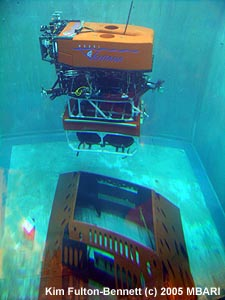 This photo, also taken in June 2005, shows the remotely operated vehicle (ROV) Ventana in the test tank with the science node. MBARI's ROV pilots used ROV Ventana to practice installing a