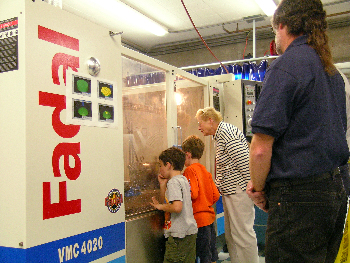 The MBARI machine shop is always a popular spot for kids of all ages. Photo: Kim Fulton-Bennett (c) 2004 MBARI