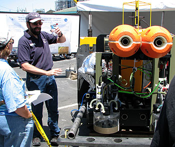 Engineer Paul McGill describes the challenges of designing a robotic vehicle that can explore the seafloor 4,000 meters (almost two miles) below the ocean surface for months at a time. Photo: Duane Thompson (c) 2007 MBARI