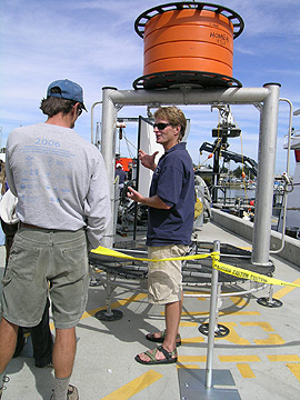Marine Support Technician Mike Conway explains how researchers can transfer equipment and specimens to and from the deep seafloor using a