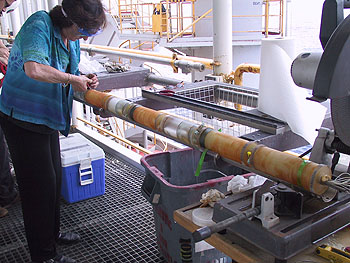 Miriam Kastner of the Scripps Institution of Oceanography works on one of the OsmoSampler arrays recovered from deep in Earth's crust. Photo: (c) 2004 Tabitha Hensley, Scripps Institution of Oceanography