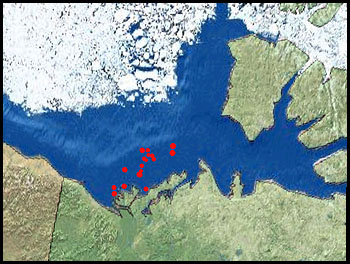 The red dots on this map show a few of the hundreds of undersea hills (