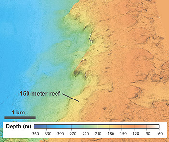 Computer-generated view of the sea bottom off the northeast coast of Hawaii. The 150-meter reef is believed to have drowned about 14,700 years ago, during a period of rapid sea-level rise.