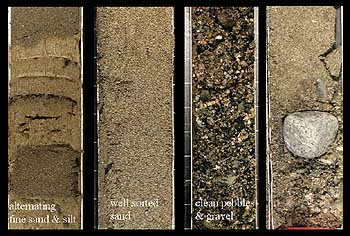 Sediment cores from the axis of Monterey Canyon contained a wide variety of coarse material, from sand and silt to large cobbles. Each core is about seven centimeters (2 3/4 inches) across. Image (c) 2005 MBARI