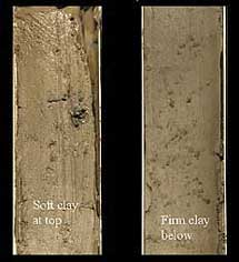 Core samples from the sides of Monterey Canyon contained mostly clays that drift in from the surrounding continental shelf. Image (c) 2005 MBARI