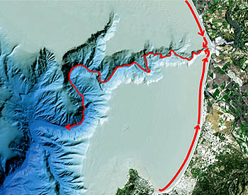 The red arrows in this illustration show how beach sand is carried parallel to shore along Monterey Bay beaches until it reaches the head of Monterey Canyon at Moss Landing. Entering the head of the canyon, this