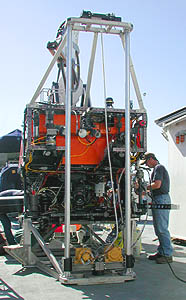 The underwater vibracoring system attached to ROV Ventana can collect cores up to 2.5 meters (8 feet) long. During operation, a core tube is suspended between the two upright struts. Photo: Todd Walsh (c) 2004 MBARI