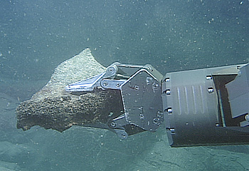 Langberg analyzed many samples such as this fragment of pillow lava being collected by MBARI's remotely operated vehicle Tiburon on the Juan de Fuca Ridge. Photo (c) 2002 MBARI
