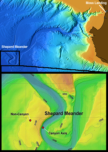 The top image shows a computer-generated map of Monterey Canyon showing Moss Landing in the upper right corner and the Shepard Meander at lower left. The bottom image shows a close-up view of the Shepard Meander. The main instrument node for measuring down-canyon carbon movement is located at the red dot labeled