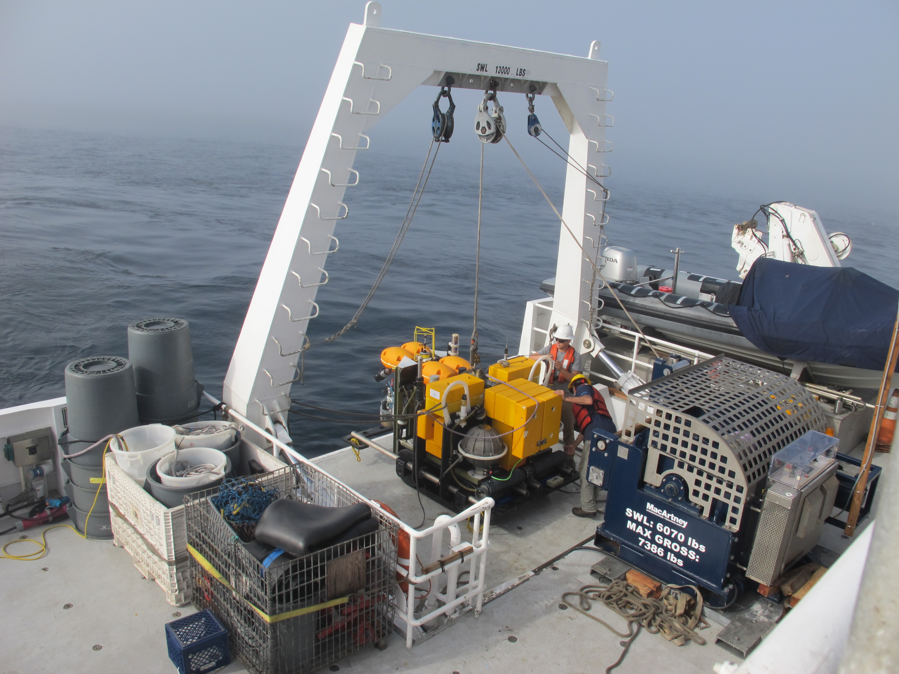 The Benthic Rover sitting on the deck of the R/V <em>Western Flyer</em>—ready to be lowered into the sea