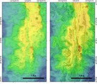 comparison of 20 m and 1 m resolution bathymetry