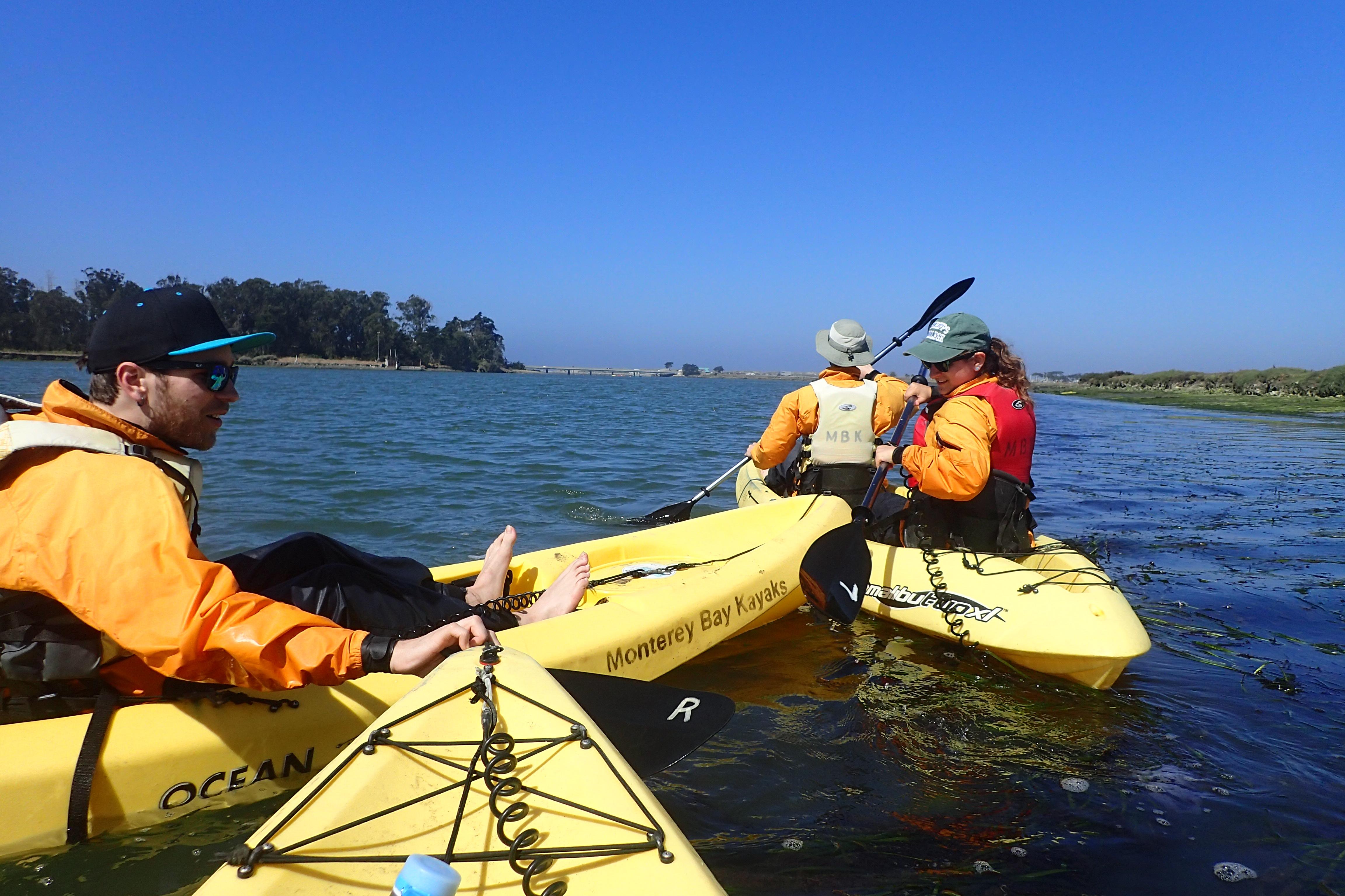 Bumper kayaks: Pierre (front), Rachel, & Nathan (back)