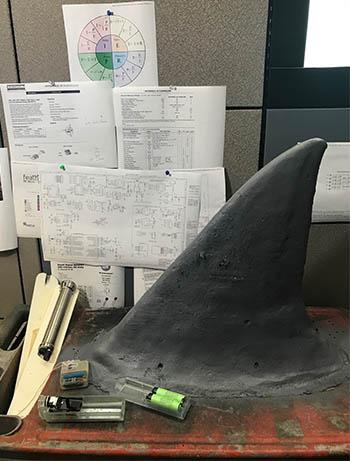 Model of a shark fin.